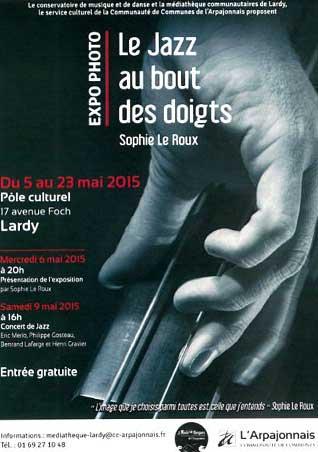 Sophie Le Roux - Affiche de l'exposition Le Jazz au Bout de Doigts à la Médiathèque de Lardy - Bretigny sur Orge, 2015