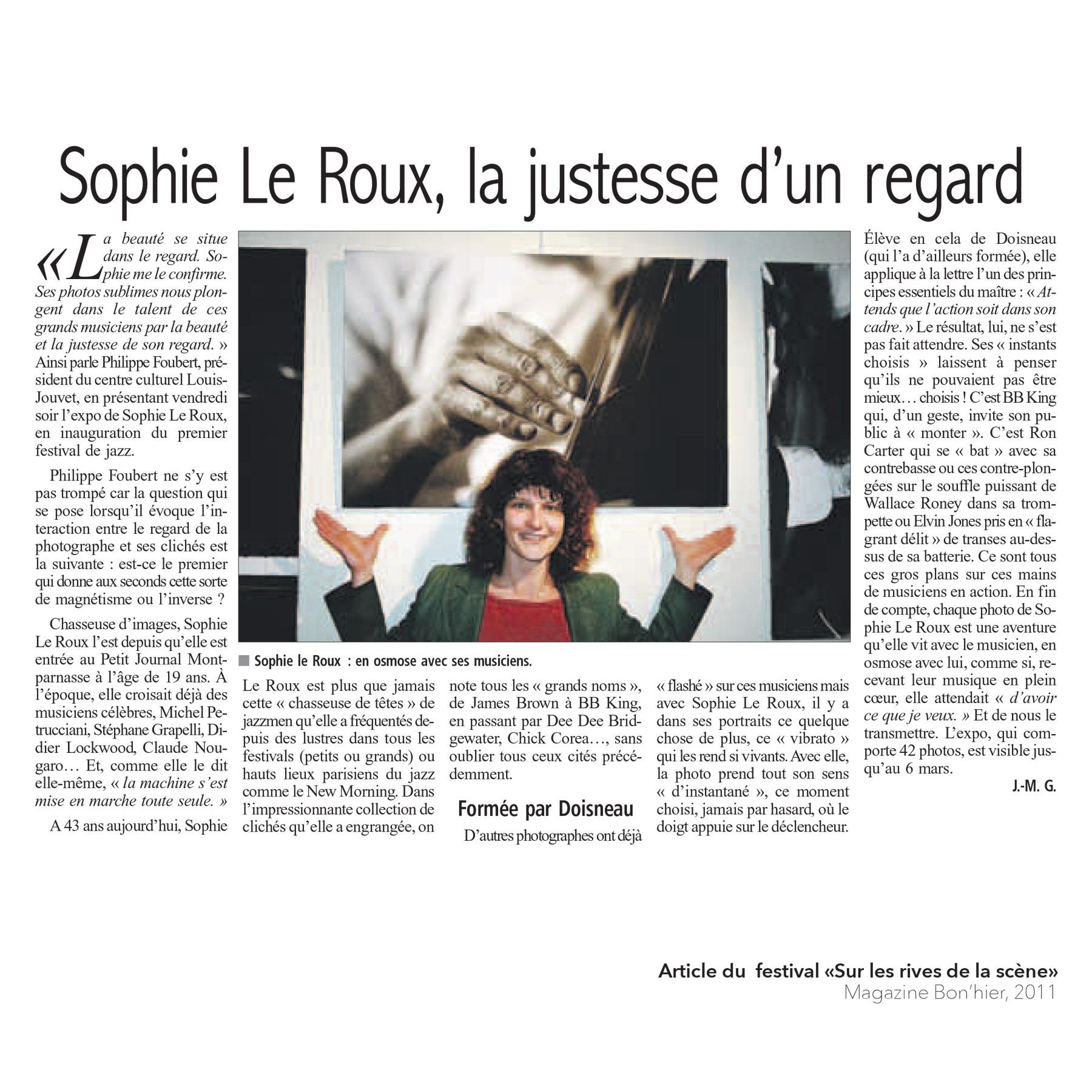 """Sophie Le Roux - Article du festival """"Sur les rives de la scène"""", magazine Bon hier, 2011"""