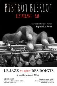 Sophie Le Roux - Affiche de l'exposition Le jazz au bout des doigts au Bistrot Bleriot - Paris, 2016