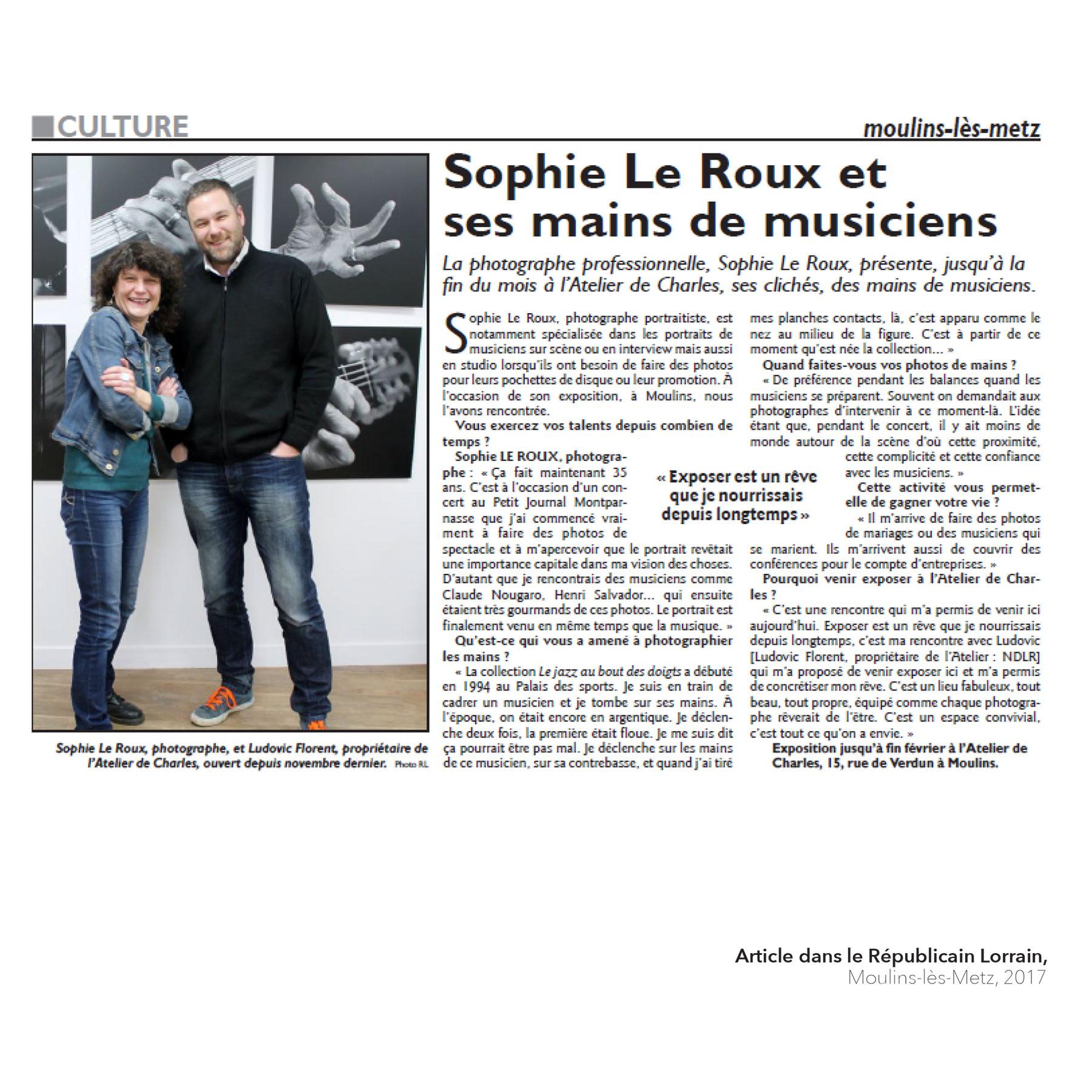 Sophie Le Roux - Article dans le Republicain-Lorrain, 2017