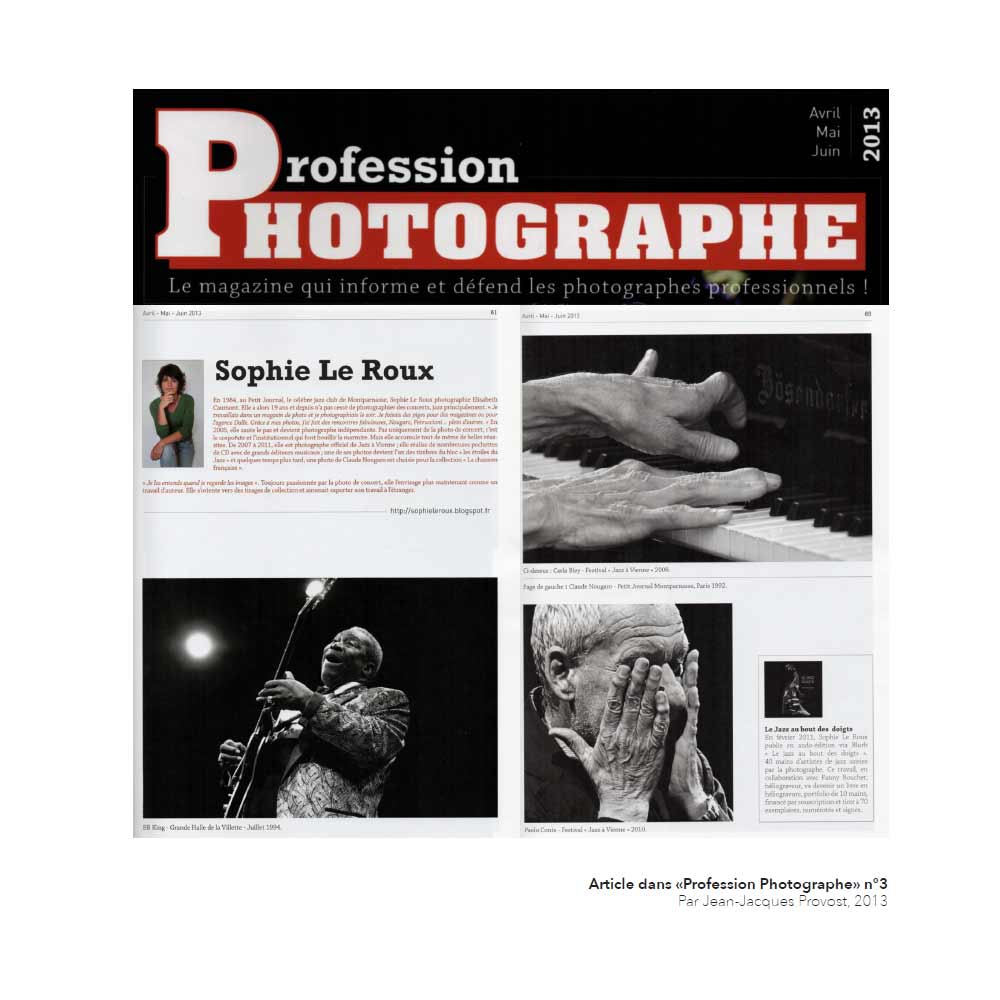 Sophie Le Roux - Article de presse - Profession Photographe - 2013