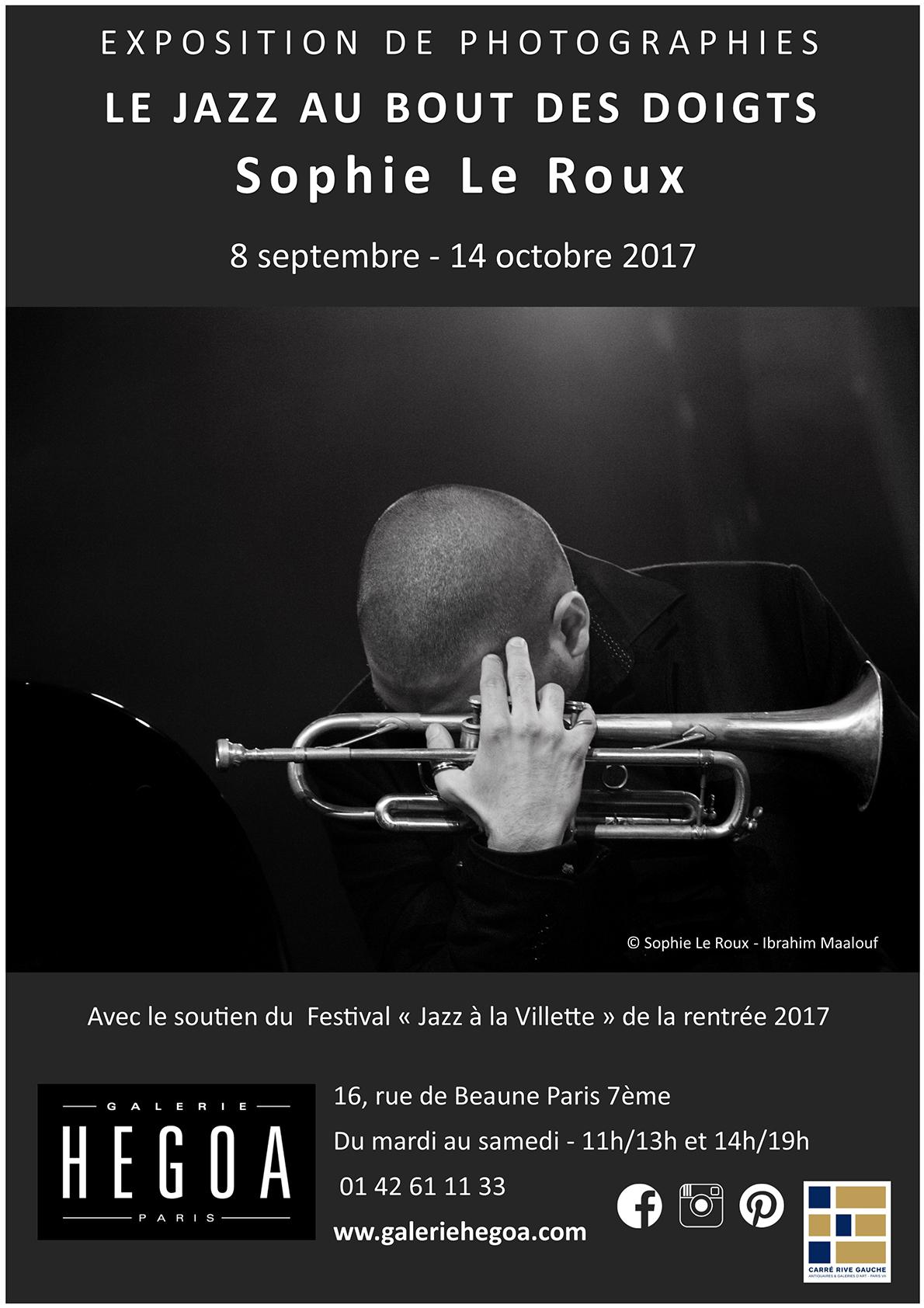 Affiche Le Jazz au Bout des Doigts - Galerie Hegoa - Sophie Le Roux