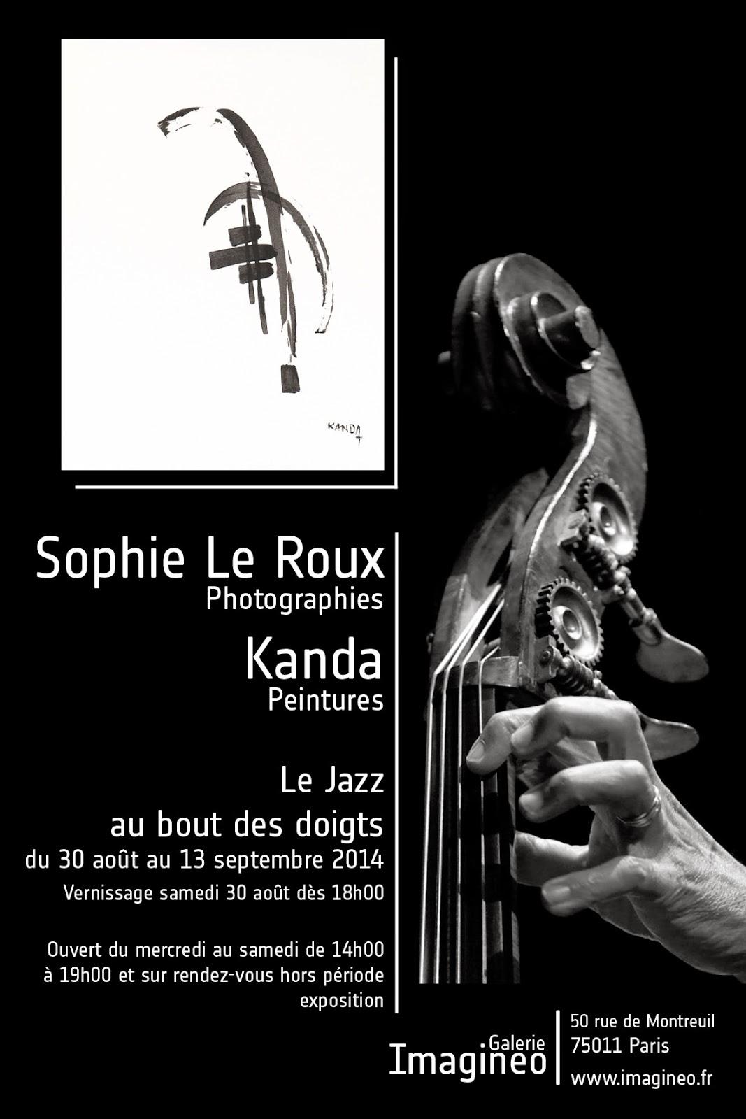 Sophie Le Roux - Affiche de l'exposition Le jazz au bout des doigts a la galerie Imagineo - Paris, 2014