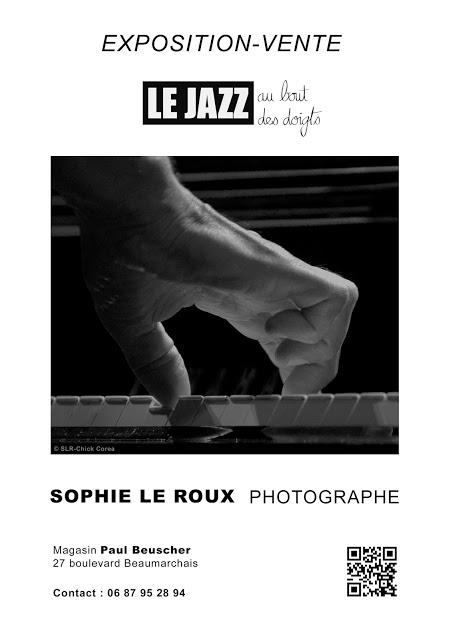 Sophie Le Roux - Affiche de l'exposition Le jazz au bout des doigts au magasin Paul Beuscher - Paris