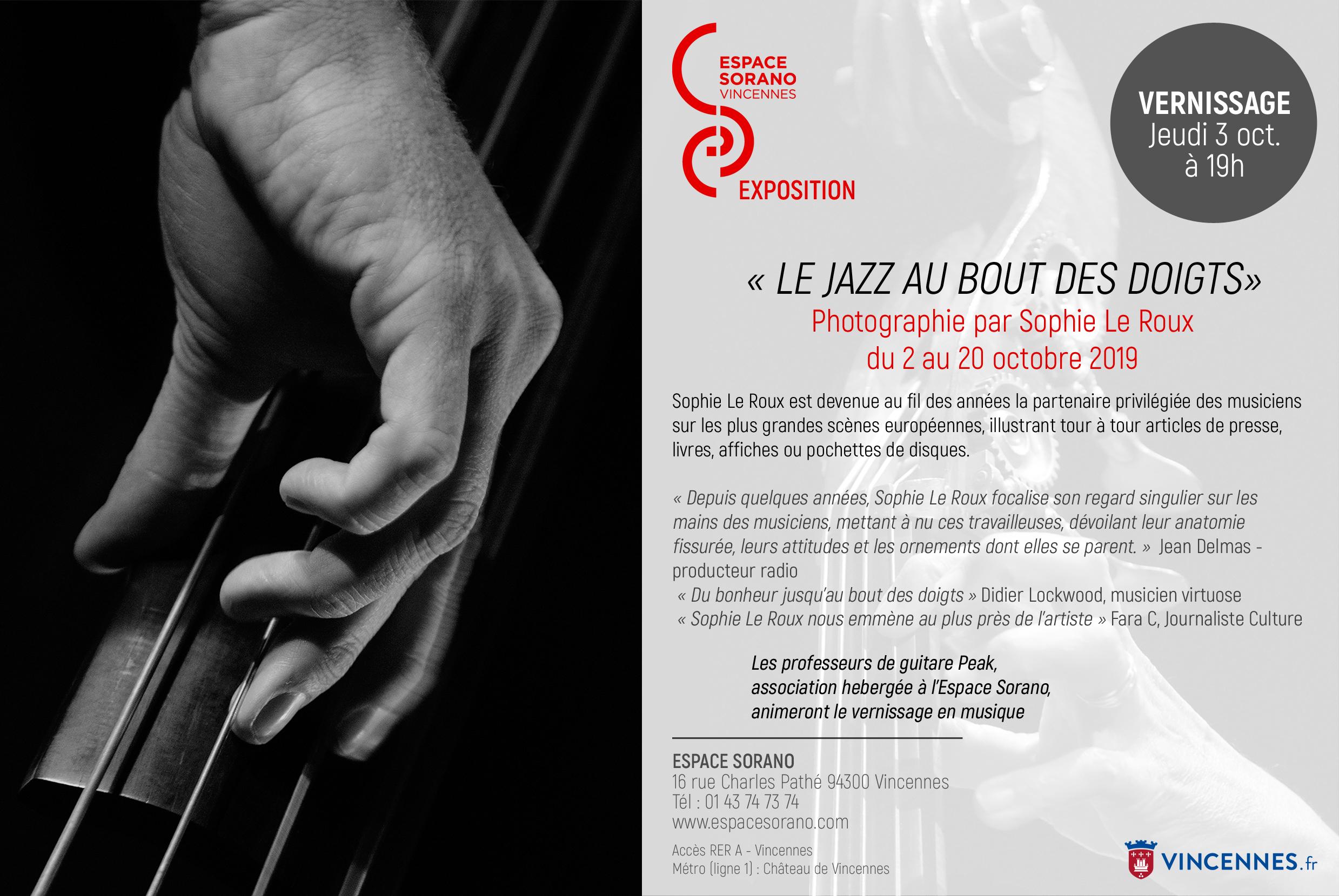 Invitation Exposition Le Jazz au bout des doigts Espace Daniel Sorano Vincennes Octobre 2019 | ©SophieLeRoux
