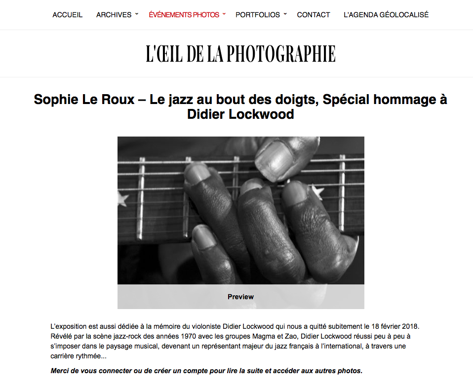 Article l'Oeil de la Photographie 2019 | ©SophieLeRoux